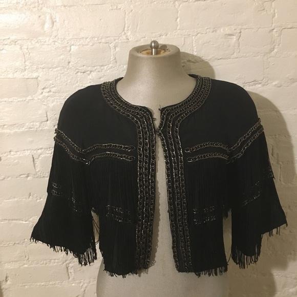 bebe Jackets & Blazers - Vintage Bebe Fringe Cropped Jacket W/ Chains